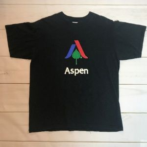 Vtg Men's T Shirt Aspen Colorado Black